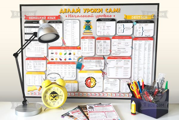 Плакат «Делай уроки сам». Немецкий язык: начальный уровень