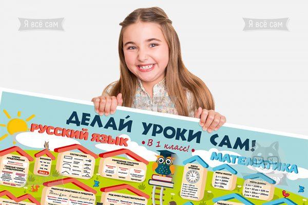 Плакат «Делай уроки сам» для 1 класса. Русский язык и Математика