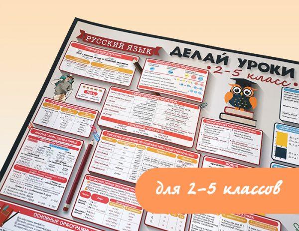 Плакат «Делай уроки сам» для 2-5 классов. Русский язык и Математика