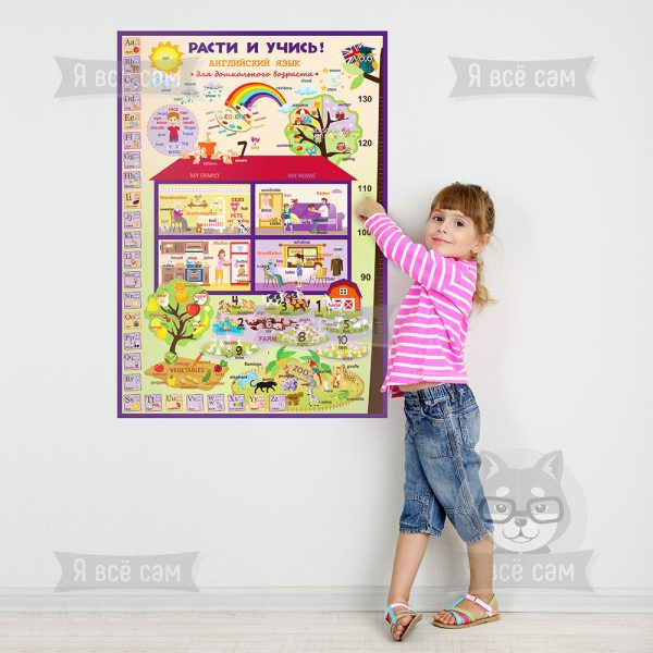 Плакат «Расти и учись» для дошкольников. Английский язык