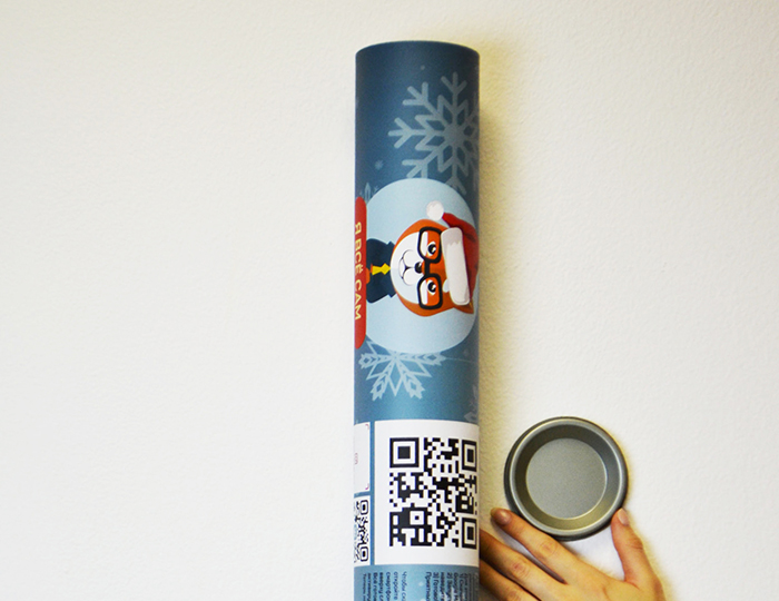Новогодний тубус с жестяной крышкой